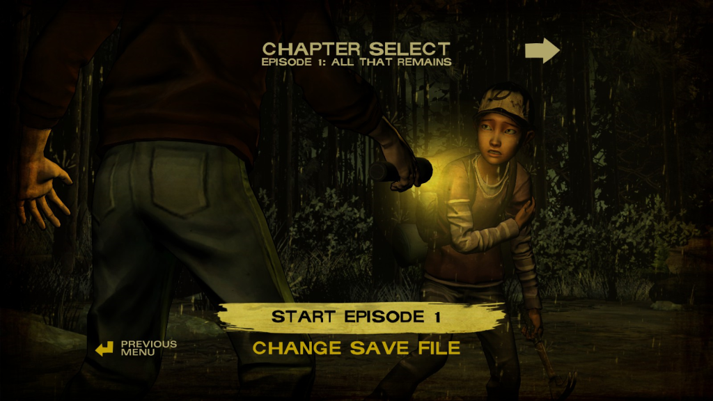 Výběr epizody v The Walking Dead
